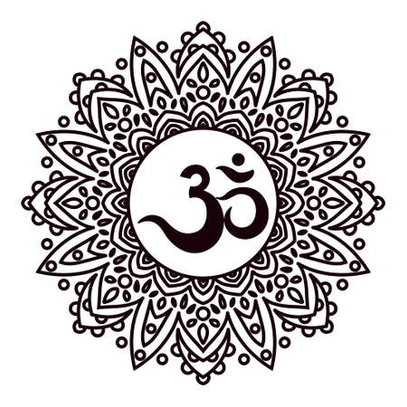 vedas: Om or Aum Indian sacred sound, original mantra, a word of power. The symbol of the divine triad of Brahma, Vishnu and Shiva. The rich round mandala. For prints, textiles, mehendi, coloring book for adults. Illustration