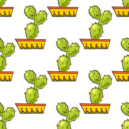 arid: Seamless pattern of cacti and succulents in pots. In the hand drawn style. For scrapbooking, fabric, wrapping paper