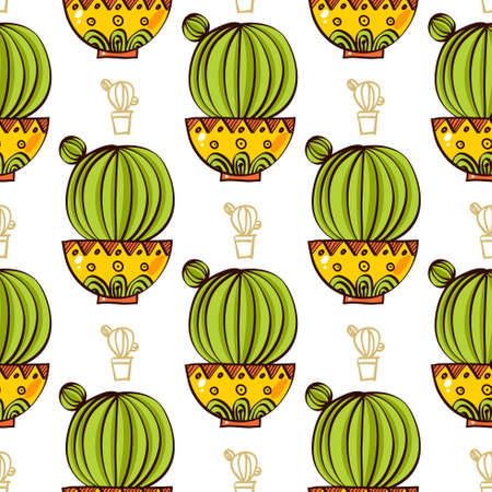 plant pot: Seamless pattern of cacti and succulents in pots. In the hand drawn style. For scrapbooking, fabric, wrapping paper