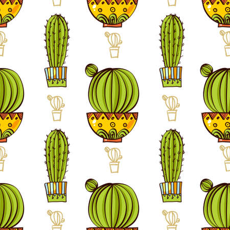 Seamless pattern of cacti and succulents in pots. In the hand drawn style. For scrapbooking, fabric, wrapping paper