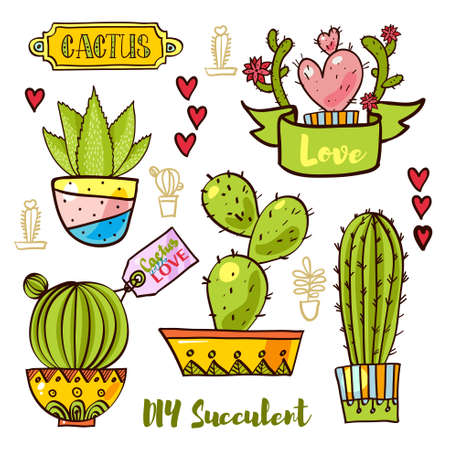 Cacti and succulents in pots. Tags and labels. In the hand drawn style. Set for scrapbooking, decal, stickers
