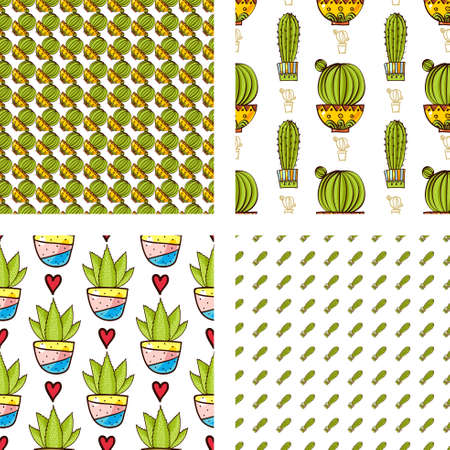 secondary: Set Seamless pattern of cacti and succulents in pots. In the hand drawn style. Hero, Secondary, Blending patterns. For scrapbooking, fabric, wrapping paper.