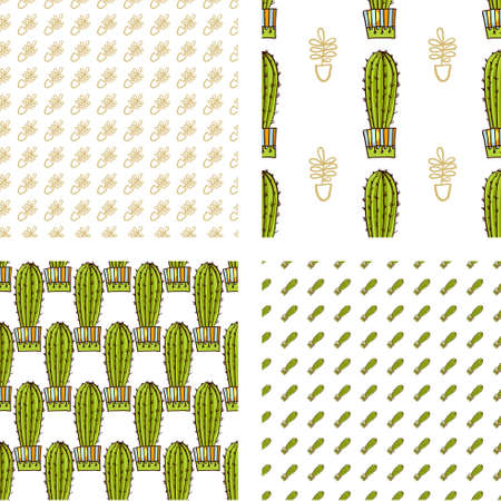 blending: Set Seamless pattern of cacti and succulents in pots. In the hand drawn style. Hero, Secondary, Blending patterns. For scrapbooking, fabric, wrapping paper.