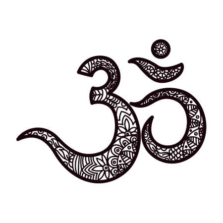 om symbol: Om or Aum Indian sacred sound, original mantra, a word of power. The symbol of the divine triad of Brahma, Vishnu and Shiva. The rich round mandala. For prints, textiles, mehendi. coloring book for adults. Illustration