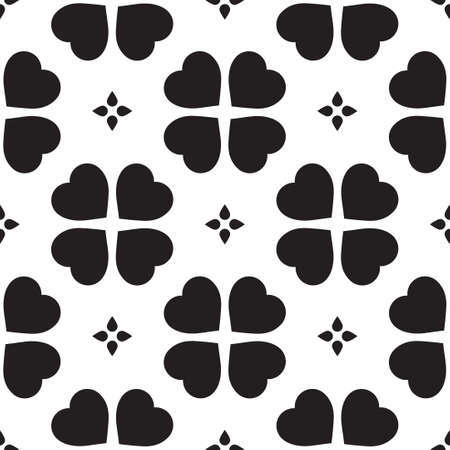 token: Monochrome seamless pattern with clover leaves, the symbol of St. Patricks Day in Ireland. Texture for scrapbooking, wrapping paper, textiles, home decor, skins smartphones backgrounds cards, website, web page, textile wallpapers, surface design, fashion Illustration