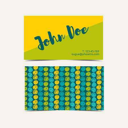 speckle: Business card vector background.  Trend green flash color. Hand drawn style. Illustration