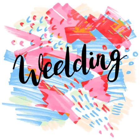 Wedding, hand-drawn labels for greeting cards, wedding invitations design, photo overlays. Modern calligraphic handwritten background.