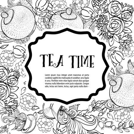 ceylon: Time to drink tea. The square monochrome fashion card, party invitation. Style hand-drawing. Illustration