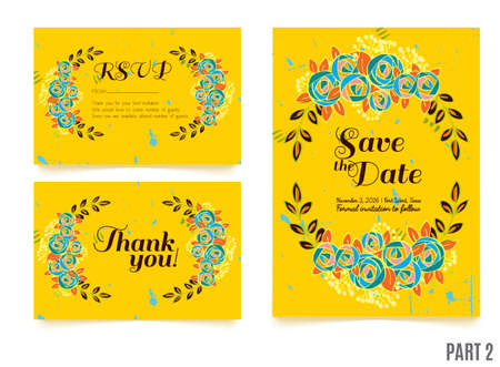 rsvp: Trendy yellow card with roses for weddings, save the date invitation, RSVP and thank you, valentines day  cards. Contemporary glamour  template