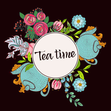 70 s: Time to drink tea. Trendy poster with flowers, tea cup and a kettle.