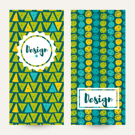greens: Set Vector  hipster backgrounds in blues and greens. Hand drawn style Trend green flash color. Illustration
