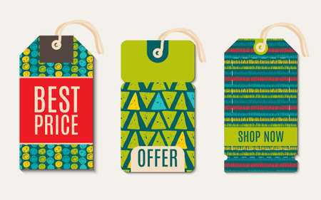 speckle: Vector  hipster  Sale Tags Design  trend green flash color. Hand drawn style Illustration