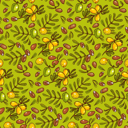 anti age: Seamless pattern branches, leaves, nuts, fruits, argan tree (ironwood). Suitable for packing Argan oil creams. Vector illustration of a hand drawn style.Texture for scrapbooking, wrapping paper, textiles.