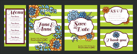 rsvp: Wedding. Save The date, rsvp, menu, Thank you. Trend cards with succulents and striped background. Stylish and fashionable design template invitations. Central white copy space for your text.