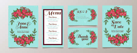 wedding reception decoration: Trendy blue card with roses for weddings, save the date invitation, RSVP and thank you, valentines day  cards. Contemporary glamour  template