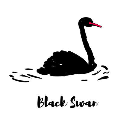 Silhouette of a black swan. One bird on the pond Illustration