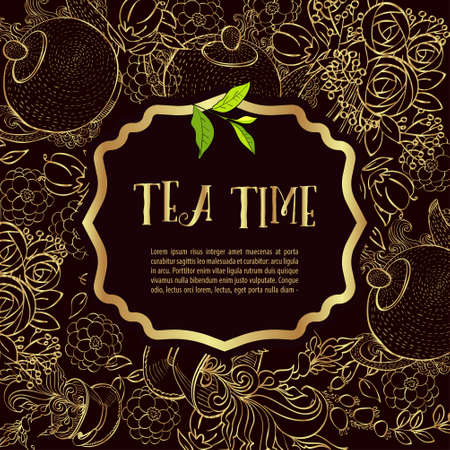 cosiness: Time to drink tea. Trendy poster with flowers, tea cup and a kettle.