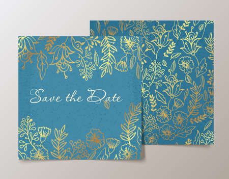wedding reception decoration: Trendy card with flower for weddings, save the date invitation, valentines day  cards. Contemporary glamour  template decorated with gold sequins. Illustration