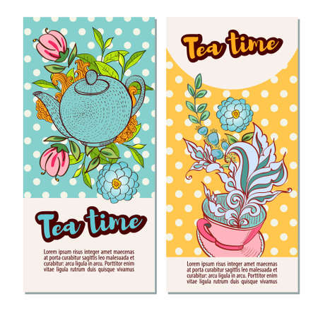 marjoram: Time to drink tea. Vertical banners with retro polka dot on the background. Style hand-drawing.