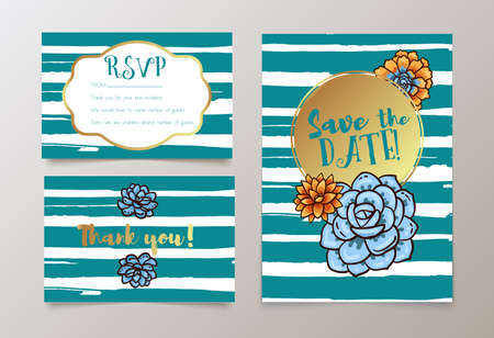 Trendy card with succulent for weddings, save the date invitation, RSVP and thank you, valentines day cards. Contemporary glamour template decorated with gold sequins.