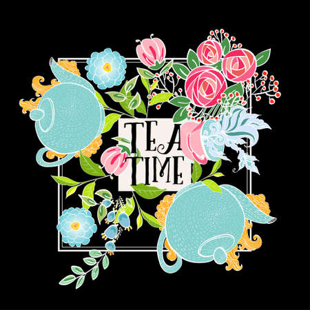 ceylon: Time to drink tea. Trendy poster with flowers, tea cup and a kettle.