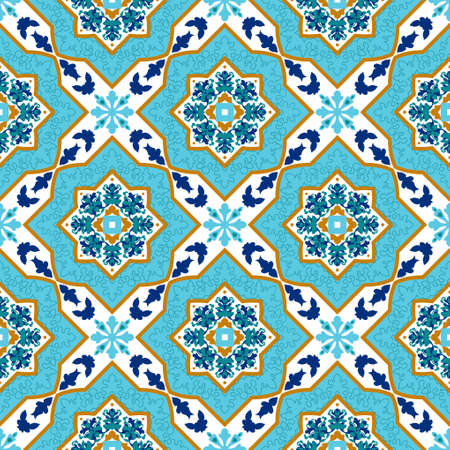azulejo portugués. Blanco y azul. Azulejo inconsútil de los modelos Mayolika.