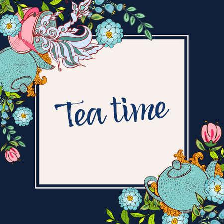Tijd om thee te drinken. Trendy poster met bloemen, kopje thee en een waterkoker.
