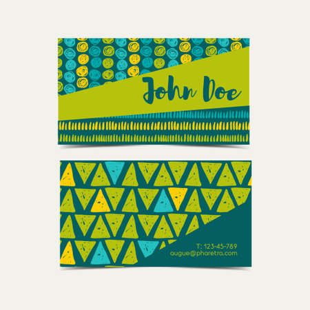 Business card vector background.  Trend green flash color. Hand drawn style. Illustration