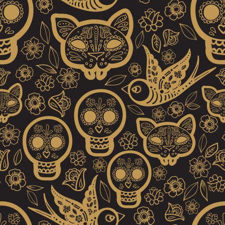 Oro patrón transparente Día de los Muertos, una fiesta tradicional en México. Cráneos. Ilustración de vector