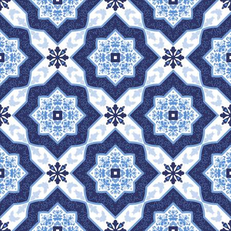 azulejos portugueses. Azul y patrones de costura preciosas blancas. Para álbumes de recortes, papel pintado, casos para los teléfonos inteligentes, los antecedentes web, impresión, texturas de la superficie.