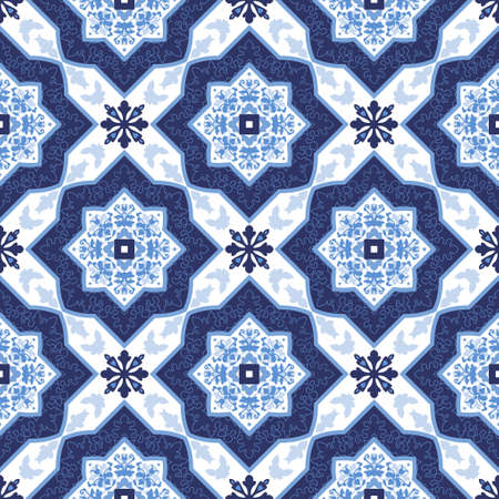 seamless tile: Portuguese azulejo tiles. Blue and white gorgeous seamless patterns. For scrapbooking, wallpaper, cases for smartphones, web background, print, surface textures.