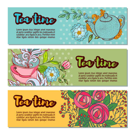 marjoram: Time to drink tea. Tea shop banner or website header set. Banners with retro polka dot on the background. Style hand-drawing.