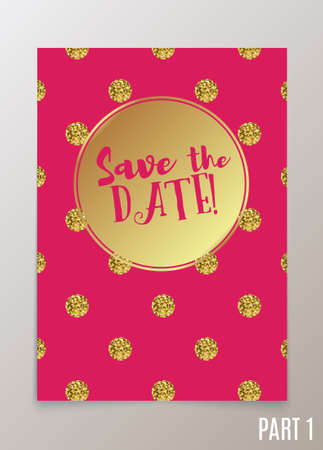 wedding reception decoration: Trendy card for weddings, save the date invitation, RSVP and thank you, valentines day  cards. Contemporary glamour  template decorated with gold sequins. Illustration