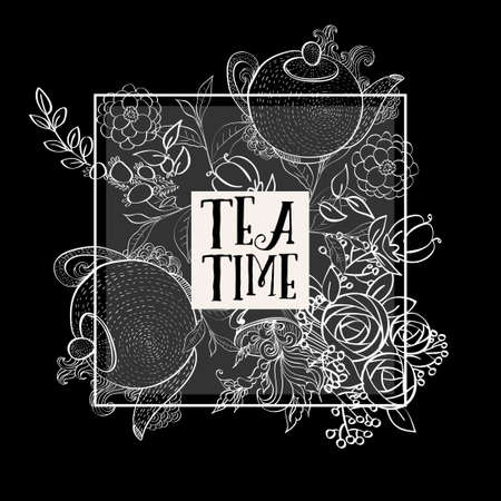 marjoram: Time to drink tea. The square fashion white card, party invitation. Style hand-drawing.