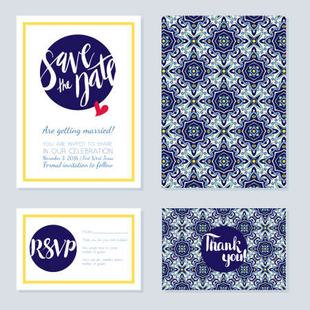 azulejos: Antique, vintage card wedding azulejos in Portuguese tiles style. Blue pattern for invitations, greeting cards happy birthday, save the date, rsvp, thank you, Portuguese weddings.