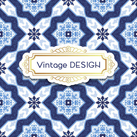 azulejos: Antique, vintage background azulejos in Portuguese tiles style. Blue pattern for invitations, greeting cards happy birthday, Portuguese weddings.