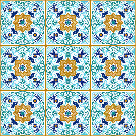 Talavera tile. Vibrant Mexican seamless pattern, originally from Morocco and Lisbon. For fabric, textile, patchwork, flooring and walls Illustration