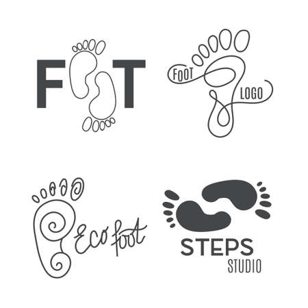 Foot silhouette. Health Center logo, orthopedic salon. Sign foot. Silhouette footprint. Business abstract set logos. Vector illustration.