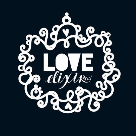 elixir: Amor elixir. Alquimista elegante lable en blanco y negro. Vector el arte del tatuaje. Romance, oculta. Estilo vintage. Concepto del día de San Valentín. Vectores