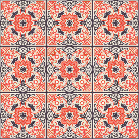 terracotta: Talavera tile. Vibrant Mexican seamless pattern, originally from Morocco and Lisbon. For fabric, textile, patchwork, flooring and walls Illustration