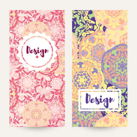 broadsheet: Templates banners set. Floral mandala pattern and ornaments. Oriental design Layout. Asian Arabic Indian ottoman motifs. Illustration