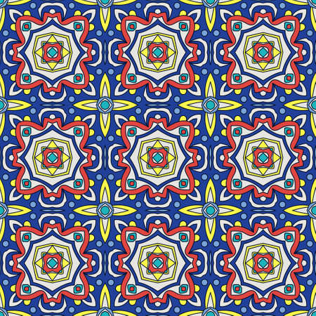 glazed: Bright traditional Talavera ornament. Mexican seamless pattern simulates colorful glazed ceramic tiles. For fabrics, prints, t-shirts, bags, wrapping paper. Illustration