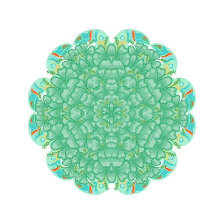 tantra: Round ornament style psychedelic 60s of bright tropical plant and  hibiscus. Eco mandala suitable for bio,  jungle prints on T-shirts, bags, soap, wedding invitations, tattoo.