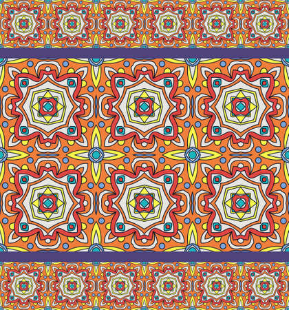 Bright traditional Talavera ornament. Mexican seamless pattern simulates colorful glazed ceramic tiles. For fabrics, prints, t-shirts, bags, wrapping paper. Illustration