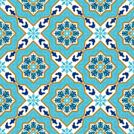 ceramica: Portuguese azulejo. White and blue. Tile Seamless patterns Mayolika. Illustration