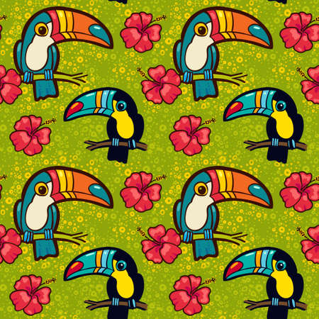 tucan: Toucan and Hibiscus. Tropical Green seamless pattern. Vector ornament in cartoon style. American  bill, ramphastida. Texture for scrapbooking, wrapping paper, web, textile, surface design, fashion