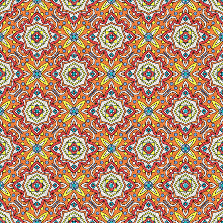 terra: Bright traditional Talavera ornament. Mexican seamless pattern simulates colorful glazed ceramic tiles. For fabrics, prints, t-shirts, bags, wrapping paper. Illustration