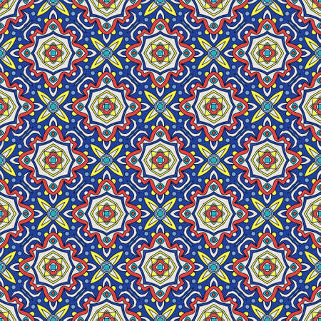faience: Bright traditional Talavera ornament. Mexican seamless pattern simulates colorful glazed ceramic tiles. For fabrics, prints, t-shirts, bags, wrapping paper. Illustration