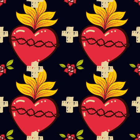 Sagrado Corazón, cruz, rose schooll tatuaje viejo patrón transparente. Vector dibujado a mano para la camiseta, el amor cartel de la vendimia. Filosofía papel, textil, tejido de la religión, la espiritualidad, la magia de envolver. Ilustración de vector