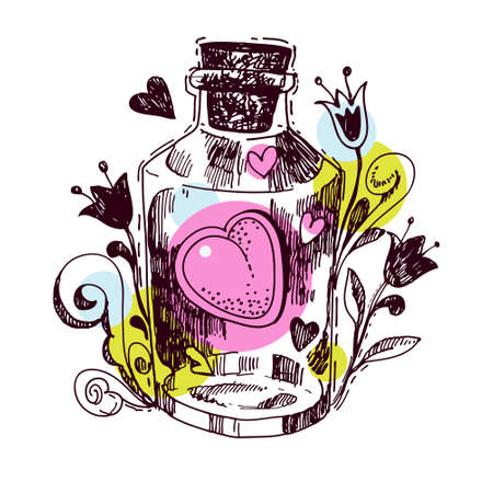 elixir: Romántica poción de amor. Corazón de un elixir en el estilo dibujado a mano para imprimir en la camiseta, bolsa, tarjeta postal